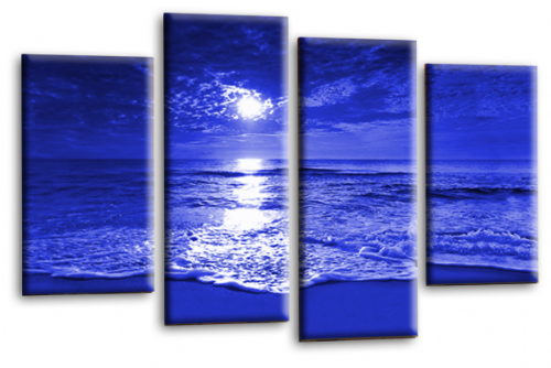 Sunset Seascape Canvas Picture Wall Art Beach Print Blue Cream